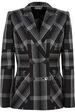 Alexander McQueen | Alexander Mcqueen Woman Checked Silk And Wool-blend Blazer Charcoal Size 42 | Clouty