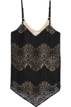Alice + Olivia | Alice+olivia Woman Emmeline Crepe And Crocheted Lace Camisole Black Size S | Clouty