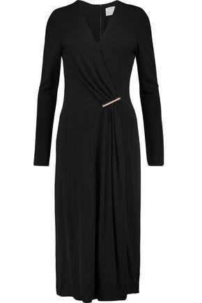 Jason Wu Woman Embellished Draped Wrap-effect Crepe Midi Dress Black Size 10 Jason Wu 12VkIJREnO
