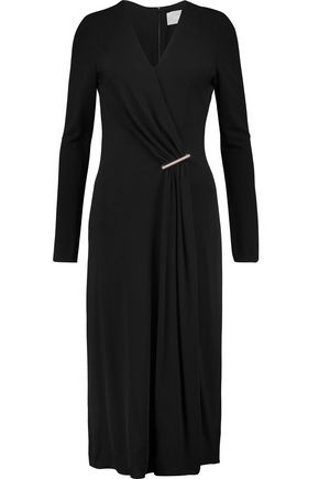 Jason Wu Woman Embellished Draped Wrap-effect Crepe Midi Dress Black Size 2 Jason Wu QjYnn