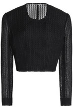 Emilia Wickstead   Emilia Wickstead Woman Cropped Embroidered Cotton-blend Top Black Size 14   Clouty