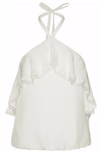 Alice + Olivia | Alice + Olivia Woman Monet Ruffle-trimmed Silk Halterneck Top Ivory Size M | Clouty