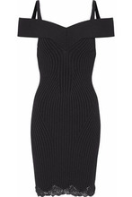 Alexander Wang   Alexander Wang Woman Cold-shoulder Lace-trimmed Ribbed Wool-blend Mini Dress Black Size M   Clouty