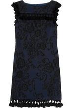 Badgley Mischka   Badgley Mischka Woman Tasseled Embroidered Faille Mini Dress Black Size 12   Clouty