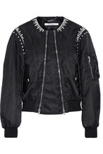 GIVENCHY | Givenchy Woman Crystal-embellished Shell Bomber Jacket Black Size 44 | Clouty