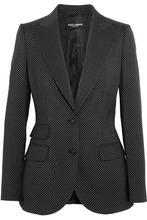 Dolce & Gabbana | Dolce & Gabbana Woman Polka-dot Wool Blazer Black Size 38 | Clouty