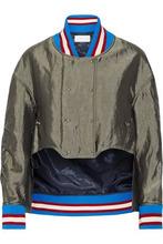 Esteban Cortazar   Esteban Cortazar Woman Asymmetric Satin Bomber Jacket Green Size 38   Clouty