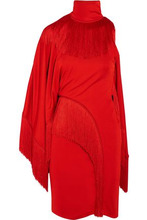 GIVENCHY | Givenchy Woman One-shoulder Fringed Jersey Turtleneck Mini Dress Red Size 36 | Clouty