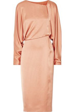 Tom Ford | Tom Ford Woman Draped Cutout Silk-satin Midi Dress Sand Size 48 | Clouty
