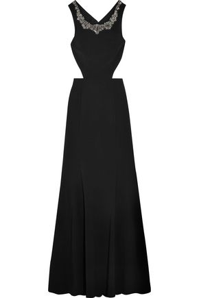 Marchesa Notte Woman Cutout Embellished Stretch-crepe Gown Black Size 10 Marchesa