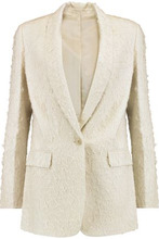 Helmut Lang   Helmut Lang Woman Shawl Collar Distressed Silk-blend Blazer Stone Size 8   Clouty