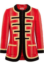 GIVENCHY | Givenchy Woman Velvet-trimmed Jacket In Red And Gold Tweed Red Size 38 | Clouty