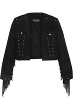 BALMAIN | Balmain Woman Cropped Lace-up Fringe-trimmed Suede Jacket Black Size 36 | Clouty
