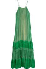 Stella McCartney | Stella Mccartney Woman Lace-paneled Printed Silk-blend Georgette Gown Green Size 34 | Clouty