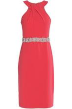 Badgley Mischka   Badgley Mischka Woman Embellished Crepe Dress Coral Size 6   Clouty