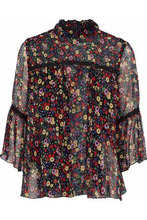 Anna Sui | Anna Sui Woman Guipure Lace-trimmed Floral-print Silk-georgette Top Black Size M | Clouty