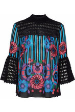 Anna Sui | Anna Sui Woman Embroidered Tulle-paneled Printed Crepe De Chine Blouse Black Size XS | Clouty