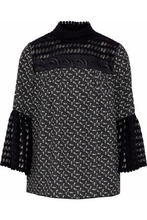 Anna Sui | Anna Sui Woman Embroidered Tulle-paneled Printed Crepe De Chine Blouse Black Size S | Clouty