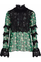 Anna Sui | Anna Sui Woman Printed Silk-blend Chiffon Top Black Size 4 | Clouty