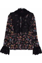 Anna Sui | Anna Sui Woman Printed Silk-blend Chiffon Top Black Size 8 | Clouty