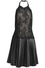 Mikael Aghal | Mikael Aghal Woman Paneled Lace And Faux Leather Halterneck Dress Black Size 6 | Clouty