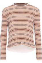 Derek Lam 10 Crosby | Derek Lam 10 Crosby Woman Layered Striped Ribbed-knit Cotton Top Peach Size XS | Clouty