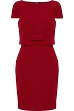 Badgley Mischka   Badgley Mischka Woman Bow-detailed Layered Cady Mini Dress Red Size 16   Clouty