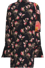 Mother Of Pearl   Mother Of Pearl Woman Cold-shoulder Floral-print Silk-georgette Mini Dress Black Size 10   Clouty