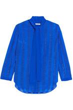 NINA RICCI | Nina Ricci Woman Pussy-bow Broderie Anglaise Silk Top Bright Blue Size 40 | Clouty