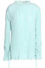 NINA RICCI | Nina Ricci Woman Shell-embellished Plisse Silk-chiffon Blouse Mint Size 40 | Clouty