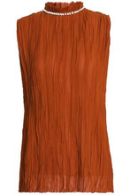NINA RICCI | Nina Ricci Woman Shell-embellished Plisse Silk-chiffon Blouse Tan Size 40 | Clouty