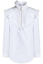 NINA RICCI | Nina Ricci Woman Scalloped Cotton-poplin Shirt White Size 34 | Clouty