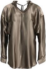 NINA RICCI | Nina Ricci Woman Striped Satin Blouse Green Size 38 | Clouty