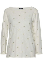 A.P.C. | A.p.c. Woman Printed Cotton And Linen-jersey Top Cream Size M | Clouty