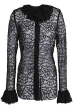 Anna Sui | Anna Sui Woman Fluted Lace Top Black Size 2 | Clouty