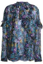 Anna Sui | Anna Sui Woman Pussy Bow Printed Silk Top Blue Size L | Clouty