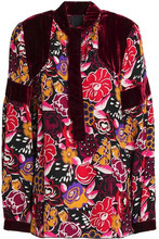 Anna Sui | Anna Sui Woman Pussy Bow Velvet And Silk Paneled Top Merlot Size L | Clouty