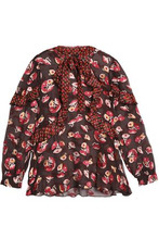 Anna Sui | Anna Sui Woman Panled Ruffled Pussy Bow Blouse Chocolate Size XS | Clouty