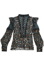 Anna Sui | Anna Sui Woman Paneled Printed Silk Top Black Size 12 | Clouty