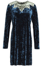 Anna Sui | Anna Sui Woman Two-tone Crushed Velvet Mini Dress Navy Size L | Clouty