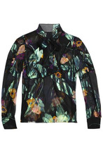 Anna Sui | Anna Sui Woman Pussy Bow Printed Silk-chiffon Blouse Black Size 2 | Clouty