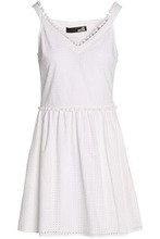 Love Moschino | Love Moschino Woman Pompom-embellished Broderie Anglaise Cotton Mini Dress White Size 44 | Clouty