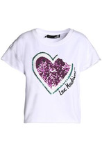 Love Moschino | Love Moschino Woman Sequin-embellished Embroidered Stretch Cotton-jersey T-shirt White Size 44 | Clouty