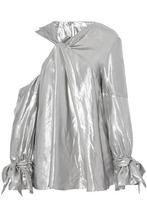 IRO   Iro Woman Agata Twist-front Asymmetric Lame Blouse Silver Size 36   Clouty