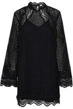 IRO | Iro Woman Scalloped Broderie Anglaise Cotton Mini Dress Black Size 40 | Clouty