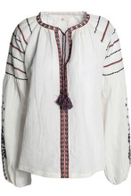 Maje | Maje Woman Tasseled Embroidered Cotton And Linen-blend Top Ivory Size 2 | Clouty