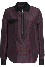 Isabel Marant | Isabel Marant Woman Poplin-trimmed Checked Ramie And Silk-blend Shirt Anthracite Size 34 | Clouty