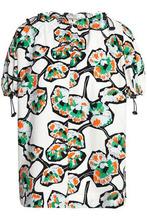 Marni | Marni Woman Gathered Floral-print Cotton-poplin Top White Size 46 | Clouty