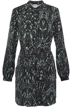 Haute Hippie | Haute Hippie Woman Printed Crepe De Chine Mini Shirt Dress Dark Green Size M | Clouty