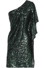 Badgley Mischka   Badgley Mischka Woman One-shoulder Sequined Mesh Mini Dress Emerald Size 14   Clouty